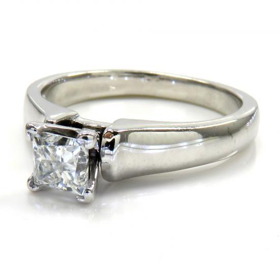 14k White Gold Princess Diamond Engagement Ring 0.40ct