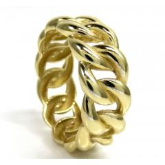 14k Yellow Gold Smooth 9.50mm Cuban Ring