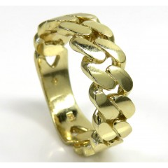 10k Yellow Gold 7.50mm Solid Cuban Link Ring