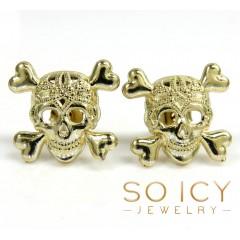 10k Yellow Gold Skull Earrings