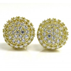 10k Yellow Gold 10.50mm Cz Round Earrings 2ct