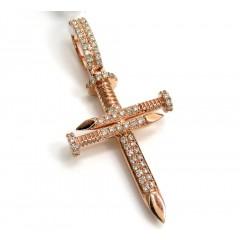 14k Gold Mini 2 Row Diamond Nail Cross 0.52ct