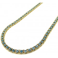 14k Yellow Gold Round 5 Pointer Blue Diamond Illusion Tennis Chain 3.70mm 4.80ct 16-26