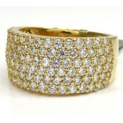 10k Yellow Gold Six Row Diamond Band Ring 2.55ct