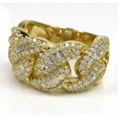 10k Yellow Gold Baguette Diamond 13mm Cuban Link Ring 1.65ct