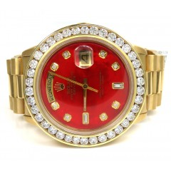 Rolex Day Date 36mm 18k Yellow Gold Custom Red Diamond Bezel And Dial 3.50ct