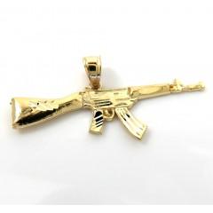 14k Yellow Gold Small Solid Ak-47 Rifle Pendant