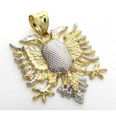 10k Two Tone Gold Diamond Cut Albanian Eagle Pendant