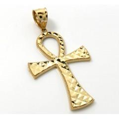 14k Yellow Gold Large Diamond Cut Fancy Ankh Cross