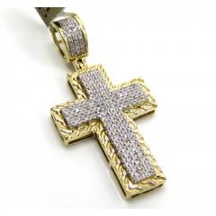 10k Gold Double Layered Diamond 4 Row Mini Cross 0.26ct