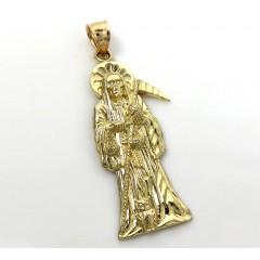 10k Yellow Gold Small Halo Grim Reaper Pendant
