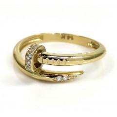 14k Yellow Gold Cz Nail Ring 0.10ct