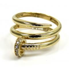 14k Yellow Gold Double Loop Cz Nail Ring 0.10ct
