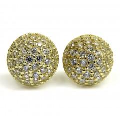 10k Yellow Gold 9mm Cz Sphere Earrings 1.00ct