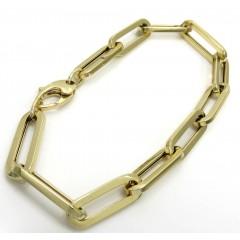 14k Yellow Gold Hollow Paper Clip Bracelet 7.75 Inch 6.5mm