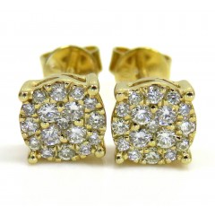 10k Yellow Gold Small Diamond Cluster Earrings 0.25ct