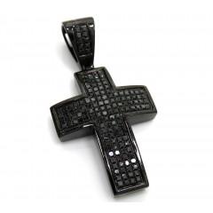 Black Sterling Silver Black Diamond Cross 2.49ct