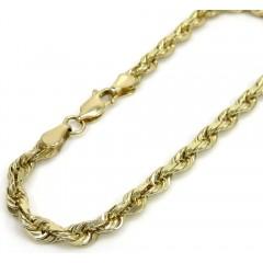 10k Yellow Gold Solid Diamond Cut Rope Bracelet 8 Inch 4.00mm