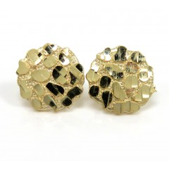 10k Yellow Gold Medium Round Nugget Earrings