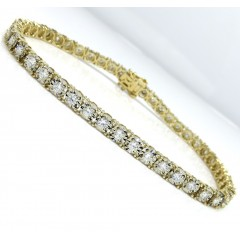 14k Yellow Gold Round 5 Pointer Diamond Illusion Tennis Bracelet 3.70mm 2.25ct