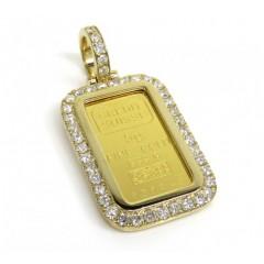 10k Yellow Gold Large Diamond Frame W/ 24k Credit Suisse Bar Pendant 1.35ct