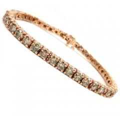 18k Rose Gold 18 Pointer Champagne Diamonds Tennis Bracelet 7 Inch 8.50ct