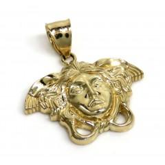 10k Yellow Gold Small Medusa Head Pendant