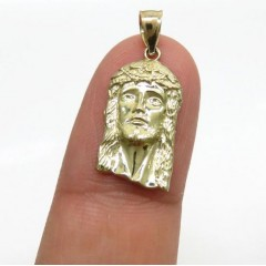 14k Yellow Gold Micro Classic Jesus Face Pendant