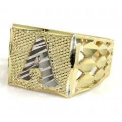 10k Gold Diamond Cut Diamond Initial Ring