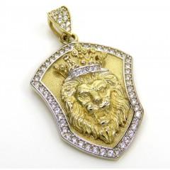 14k Yellow Gold Cz Lion Crown Pendant 1.50ct