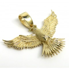 14k Yellow Gold Small Solid Flying Eagle Pendant