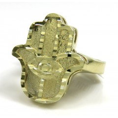10k Yellow Gold Diamond Cut Hamsa Ring