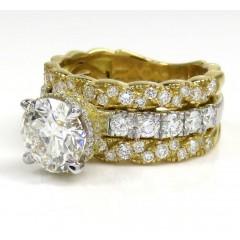 18k Two Tone Gold Round Diamond Semi Mount Ring 1.20ct