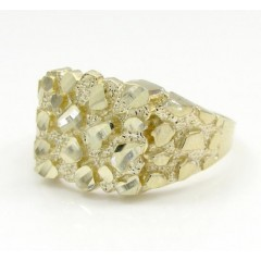 Mens 14k Yellow Gold Small Square Nugget Ring