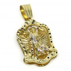 14k Two Tone Gold Large Saint Lazarus Pendant