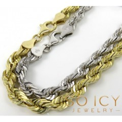 14k Yellow Or White Gold Solid Diamond Cut Rope Bracelet 7.50 Inch 5mm