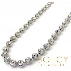 925 White Sterling Silver Diamond Cut Bead Chain 20-30 Inch 4mm