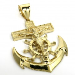 10k Yellow Gold Large Anchor Jesus Pendant