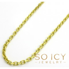 14k Yellow Gold Skinny Solid Cable Link Chain 18-24