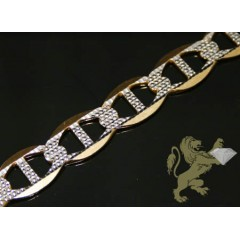 10k Solid Yellow Gold Diamond Cut Mariner Link Bracelet 9 Inch 11mm