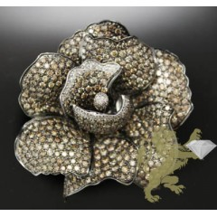 12.10ct 18k Yellow Gold champagne Diamond Flower Pendant & Pin
