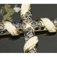 3.30ct 14k Yellow Gold Diamond black & Yellow Cross