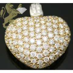 2.95ct 14k Solid Yellow Gold two Tone Round Diamond Pave Heart Pendan