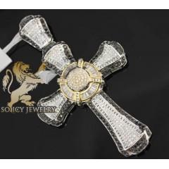 5.15ct 14k White Gold Diamond baguette Pave Circle Cross