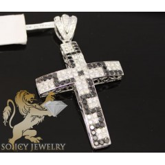 3.30ct 14k Gold black & White Round Diamond Cross