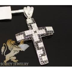 3.30ct 14k Gold black & White Round Diamond Cross