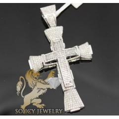 4.65ct 14k White Gold Diamond pave & Invisible Cross