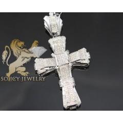 3.30ct 14k White Gold Diamond pave & Invisible Cross