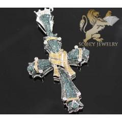 4.00ct 14k White Gold Diamond pave Color Ribbon Cross