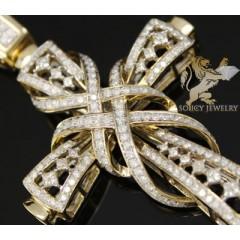 2.40ct 14k Yellow Gold Diamond princess Swirl Cross